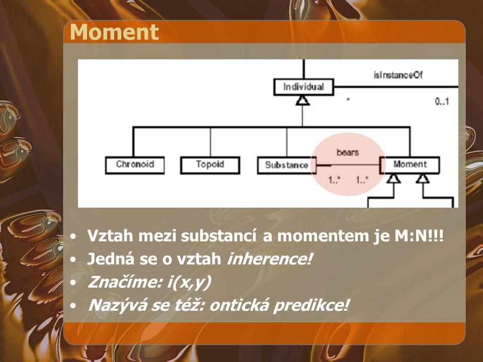 Moment Vztah mezi substancí a momentem je M:N!!! Jedná se o vztah inherence! Značíme: i(x,y) Nazývá se též: ontická predikce!