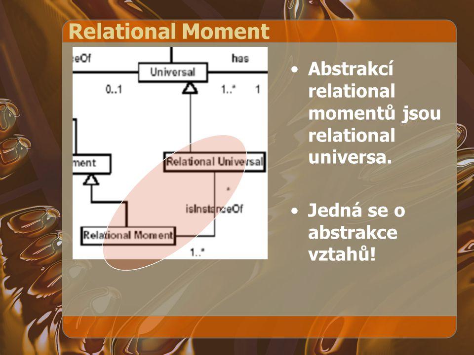 Relational Moment Abstrakcí relational momentů jsou relational universa. Jedná se o abstrakce vztahů!