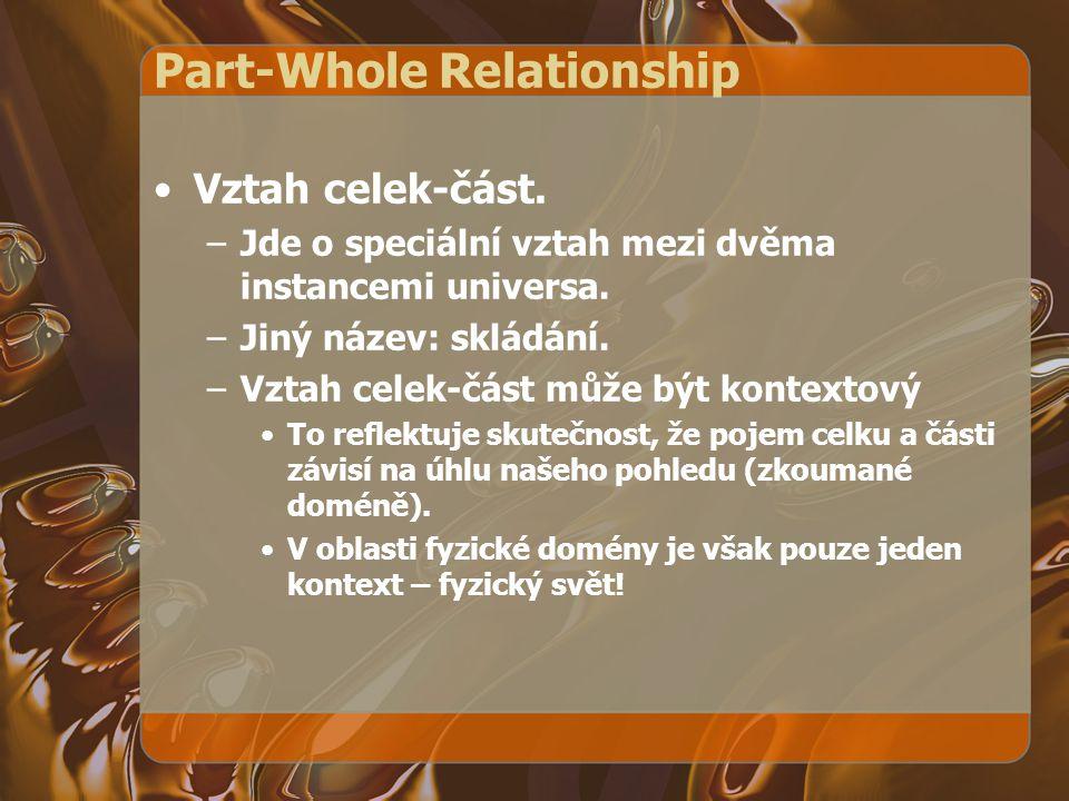 Part-Whole Relationship Vztah celek-část. –Jde o speciální vztah mezi dvěma instancemi universa. –Jiný název: skládání. –Vztah celek-část může být kon