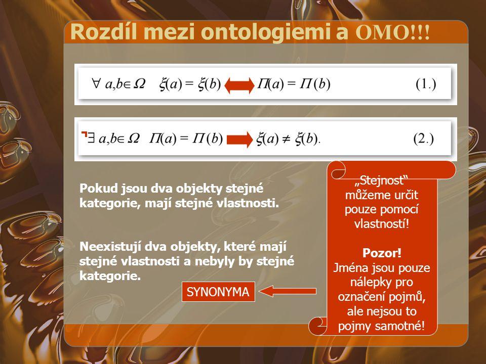 Rozdíl mezi ontologiemi a OMO!!! Pokud jsou dva objekty stejné kategorie, mají stejné vlastnosti. Neexistují dva objekty, které mají stejné vlastnosti