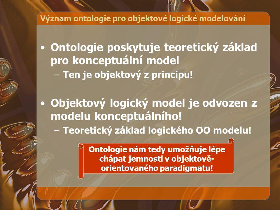 Význam ontologie pro objektové logické modelování Ontologie poskytuje teoretický základ pro konceptuální model –Ten je objektový z principu! Objektový