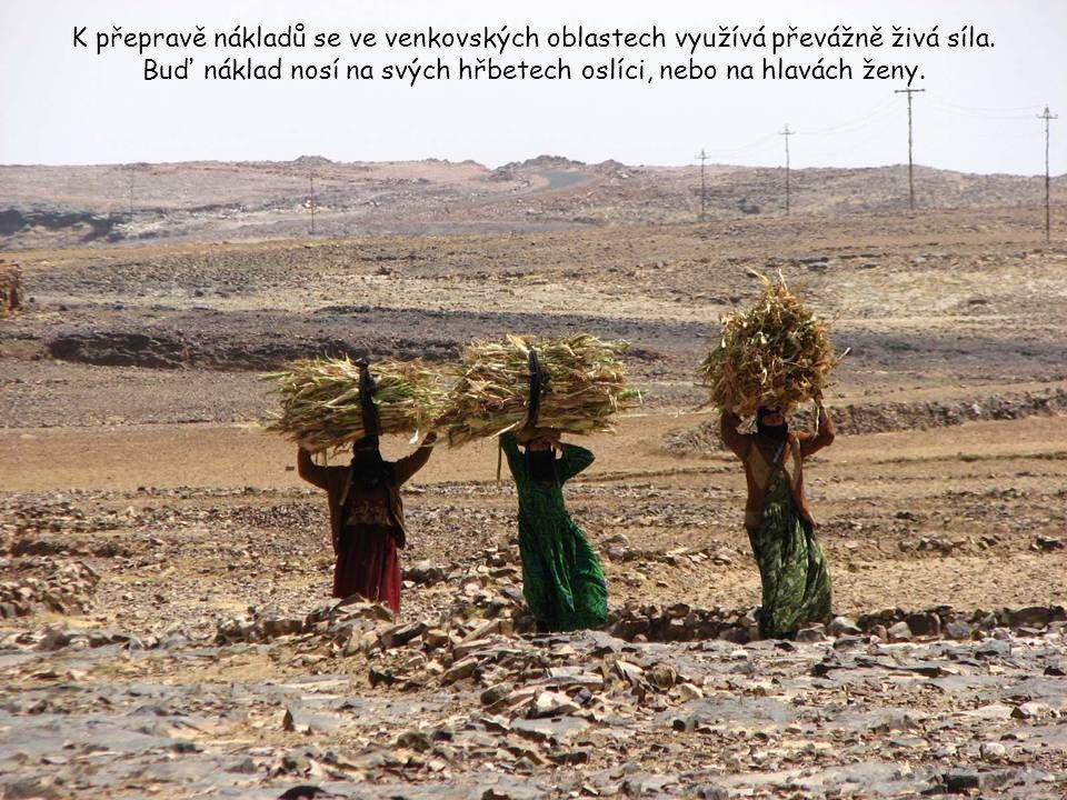 K přepravě nákladů se ve venkovských oblastech využívá převážně živá síla.