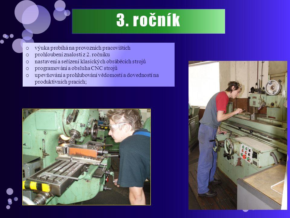 3. ročník o výuka probíhá na provozních pracovištích o prohloubení znalostí z 2. ročníku o nastavení a seřízení klasických obráběcích strojů o program