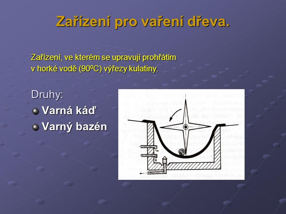Zařízení pro vaření dřeva. Zařízení, ve kterém se upravují prohřátím v horké vodě (90 0 C) výřezy kulatiny. Druhy: Varná káď Varný bazén