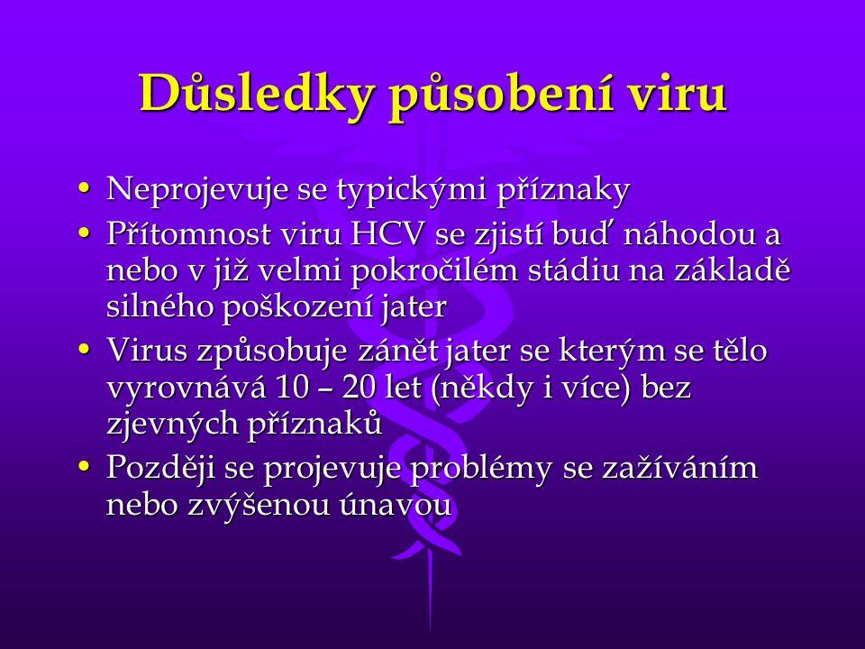 Důsledky působení viru Neprojevuje se typickými příznakyNeprojevuje se typickými příznaky Přítomnost viru HCV se zjistí buď náhodou a nebo v již velmi pokročilém stádiu na základě silného poškození jaterPřítomnost viru HCV se zjistí buď náhodou a nebo v již velmi pokročilém stádiu na základě silného poškození jater Virus způsobuje zánět jater se kterým se tělo vyrovnává 10 – 20 let (někdy i více) bez zjevných příznakůVirus způsobuje zánět jater se kterým se tělo vyrovnává 10 – 20 let (někdy i více) bez zjevných příznaků Později se projevuje problémy se zažíváním nebo zvýšenou únavouPozději se projevuje problémy se zažíváním nebo zvýšenou únavou