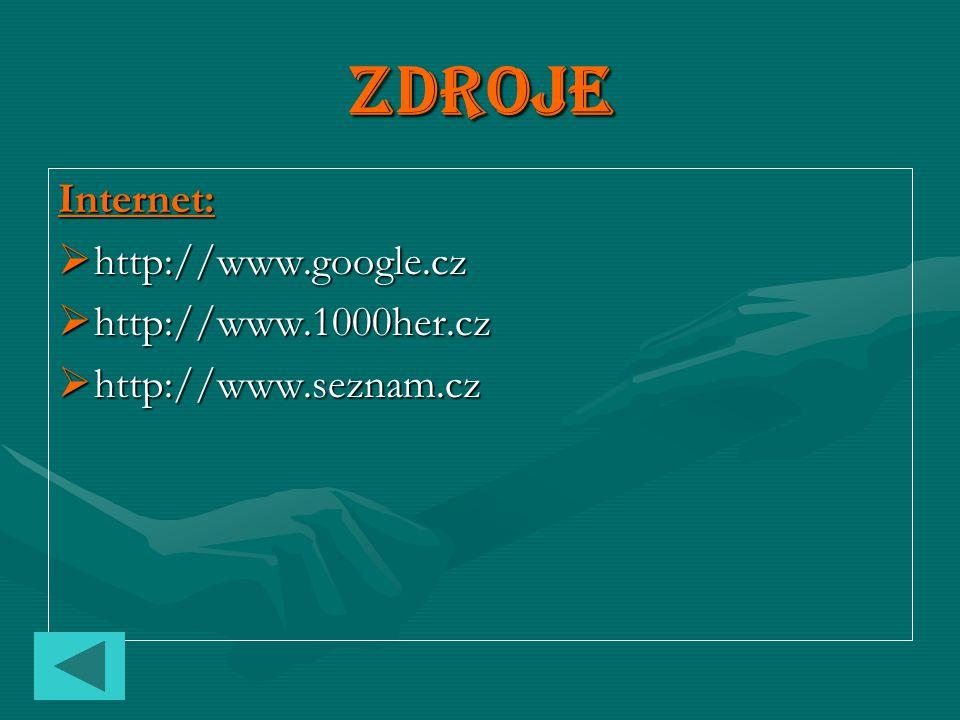 Zdroje Internet: hhhhttp://www.google.cz hhhhttp://www.1000her.cz hhhhttp://www.seznam.cz