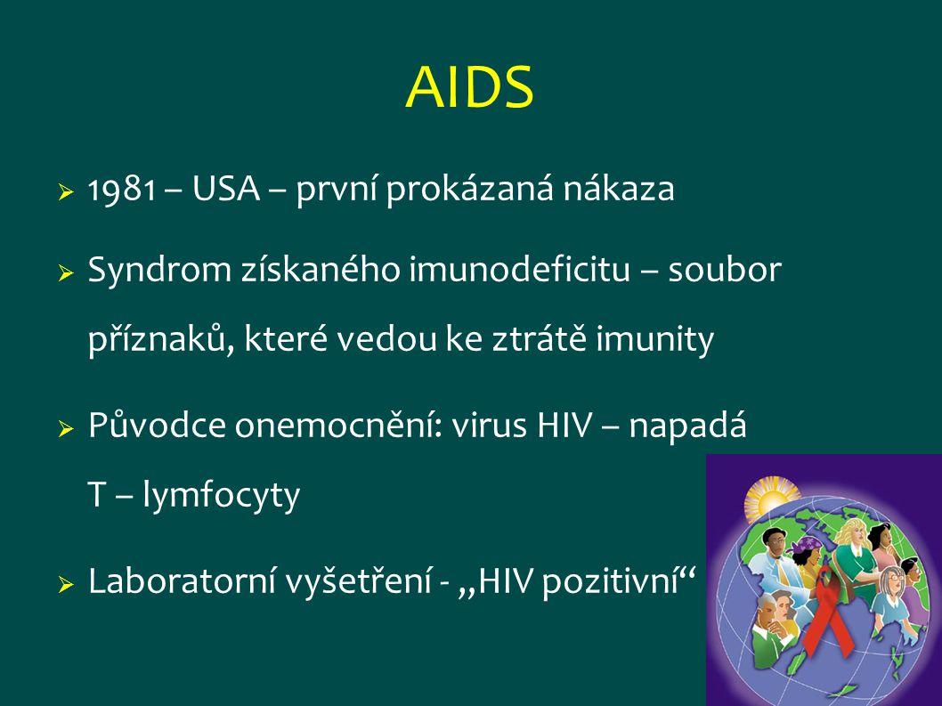 AIDS  1981 – USA – první prokázaná nákaza  Syndrom získaného imunodeficitu – soubor příznaků, které vedou ke ztrátě imunity  Původce onemocnění: vi