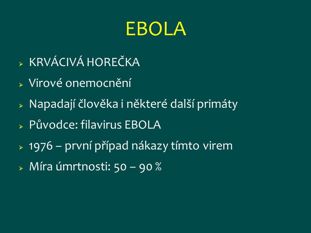 EBOLA  KRVÁCIVÁ HOREČKA  Virové onemocnění  Napadají člověka i některé další primáty  Původce: filavirus EBOLA  1976 – první případ nákazy tímto