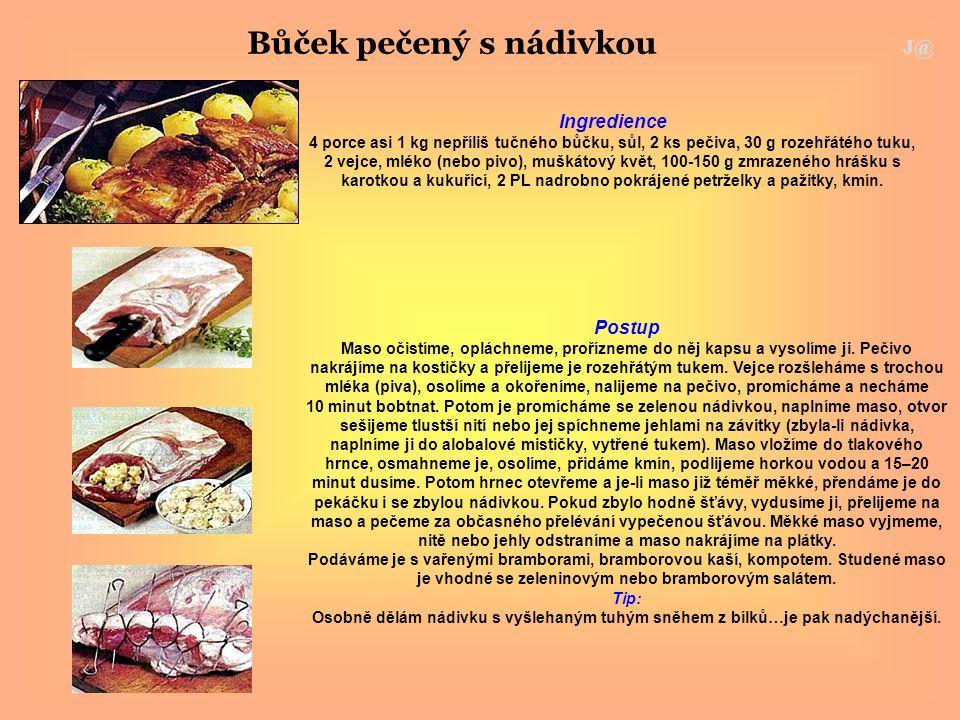 Bůček pečený s nádivkou J@ Ingredience 4 porce asi 1 kg nepříliš tučného bůčku, sůl, 2 ks pečiva, 30 g rozehřátého tuku, 2 vejce, mléko (nebo pivo), m