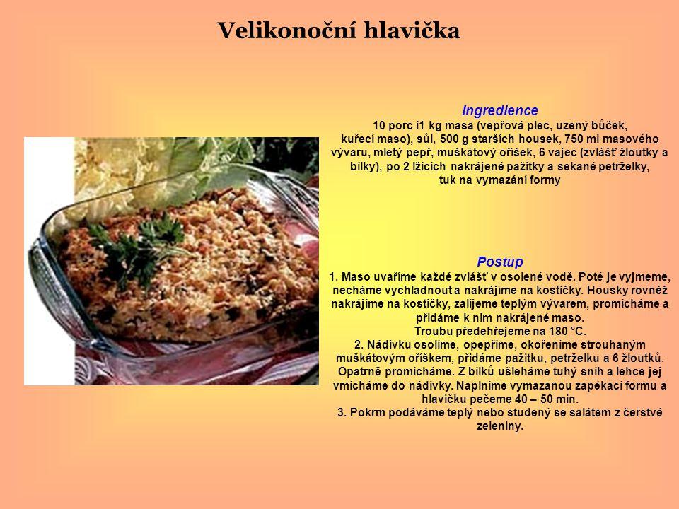 Velikonoční hlavička Ingredience 10 porc í1 kg masa (vepřová plec, uzený bůček, kuřecí maso), sůl, 500 g starších housek, 750 ml masového vývaru, mletý pepř, muškátový oříšek, 6 vajec (zvlášť žloutky a bílky), po 2 lžících nakrájené pažitky a sekané petrželky, tuk na vymazání formy Postup 1.