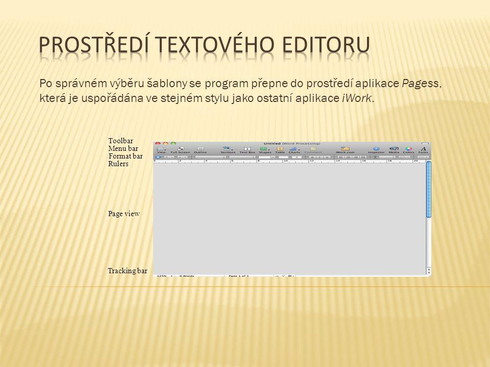 Po správném výběru šablony se program přepne do prostředí aplikace Pagess, která je uspořádána ve stejném stylu jako ostatní aplikace iWork. Menu bar