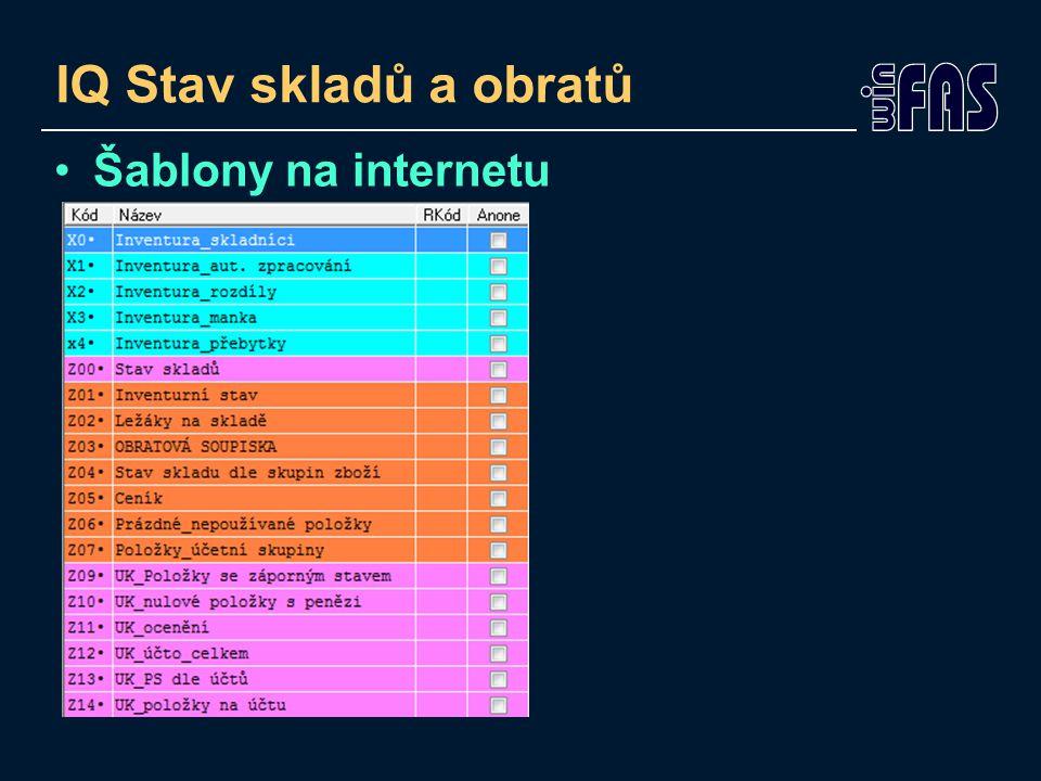 IQ Stav skladů a obratů Šablony na internetu