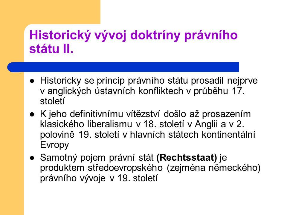 Historický vývoj doktríny právního státu III.