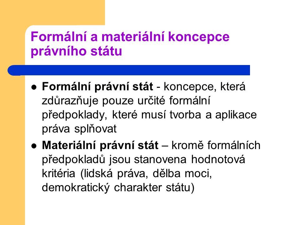 Formální a materiální koncepce právního státu Formální právní stát - koncepce, která zdůrazňuje pouze určité formální předpoklady, které musí tvorba a