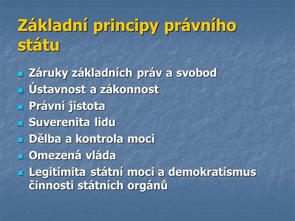 Základní principy právního státu Záruky základních práv a svobod Záruky základních práv a svobod Ústavnost a zákonnost Ústavnost a zákonnost Právní ji
