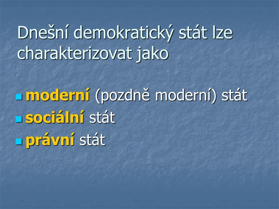 Dnešní demokratický stát lze charakterizovat jako moderní (pozdně moderní) stát moderní (pozdně moderní) stát sociální stát sociální stát právní stát