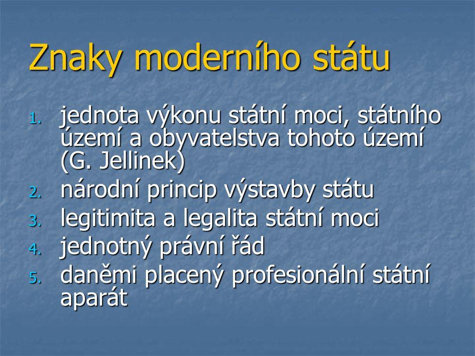 Znaky moderního státu 1. jednota výkonu státní moci, státního území a obyvatelstva tohoto území (G. Jellinek) 2. národní princip výstavby státu 3. leg