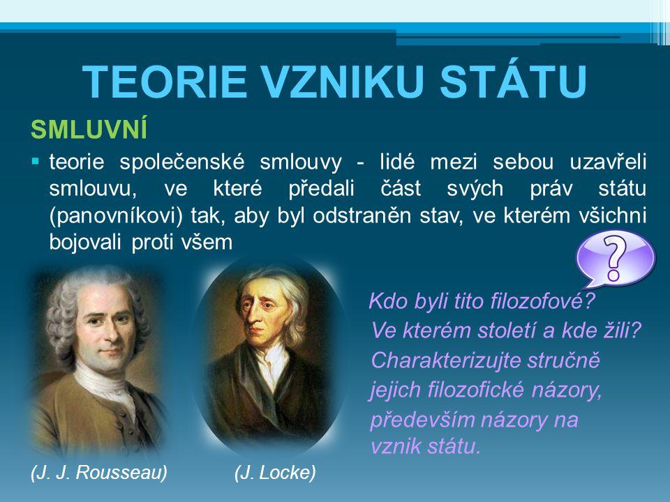 TEORIE VZNIKU STÁTU SMLUVNÍ  teorie společenské smlouvy - lidé mezi sebou uzavřeli smlouvu, ve které předali část svých práv státu (panovníkovi) tak,