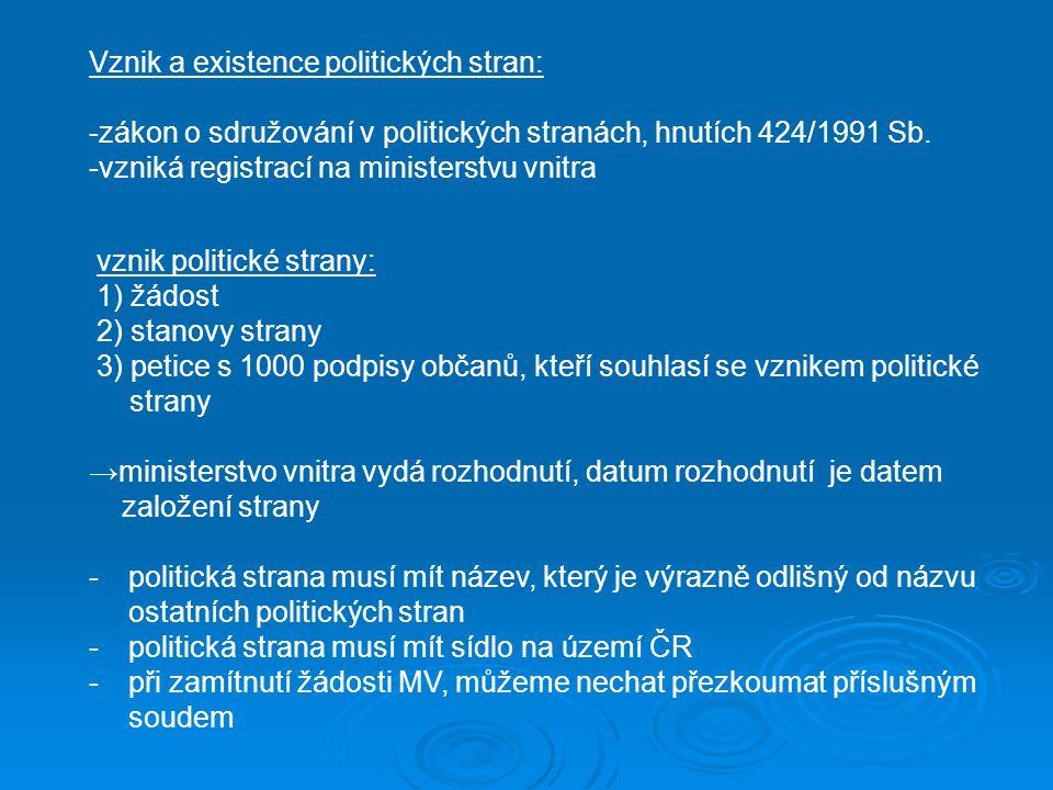 vznik politické strany: 1) žádost 2) stanovy strany 3) petice s 1000 podpisy občanů, kteří souhlasí se vznikem politické strany →ministerstvo vnitra vydá rozhodnutí, datum rozhodnutí je datem založení strany -politická strana musí mít název, který je výrazně odlišný od názvu ostatních politických stran - politická strana musí mít sídlo na území ČR -při zamítnutí žádosti MV, můžeme nechat přezkoumat příslušným soudem Vznik a existence politických stran: -zákon o sdružování v politických stranách, hnutích 424/1991 Sb.