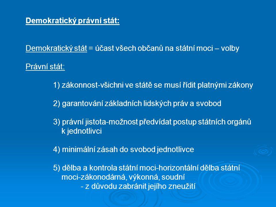 Demokratický právní stát: Demokratický stát = účast všech občanů na státní moci – volby Právní stát: 1) zákonnost-všichni ve státě se musí řídit platnými zákony 2) garantování základních lidských práv a svobod 3) právní jistota-možnost předvídat postup státních orgánů k jednotlivci 4) minimální zásah do svobod jednotlivce 5) dělba a kontrola státní moci-horizontální dělba státní moci-zákonodárná, výkonná, soudní - z důvodu zabránit jejího zneužití