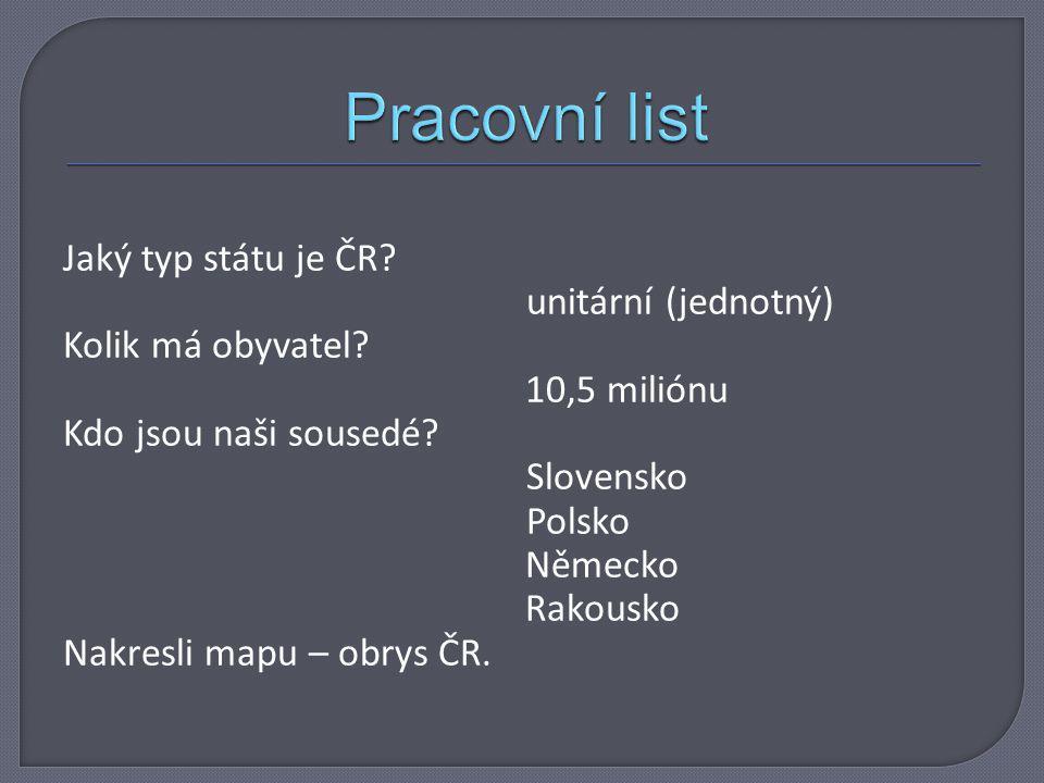 Jaký typ státu je ČR.unitární (jednotný) Kolik má obyvatel.