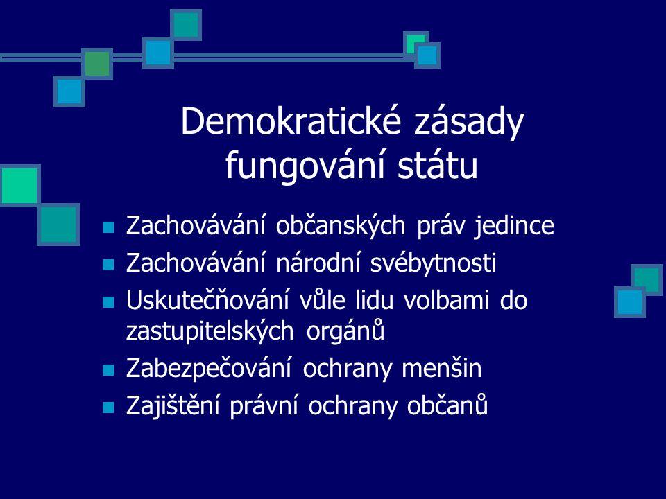 Demokratické zásady fungování státu Zachovávání občanských práv jedince Zachovávání národní svébytnosti Uskutečňování vůle lidu volbami do zastupitelských orgánů Zabezpečování ochrany menšin Zajištění právní ochrany občanů