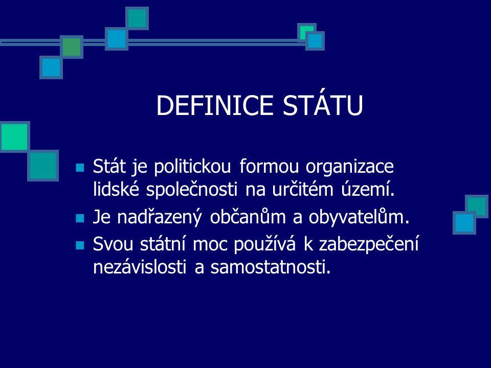 DEFINICE STÁTU Stát je politickou formou organizace lidské společnosti na určitém území.