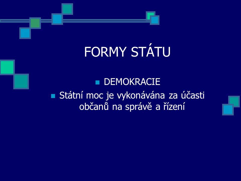 FORMY STÁTU DEMOKRACIE Státní moc je vykonávána za účasti občanů na správě a řízení