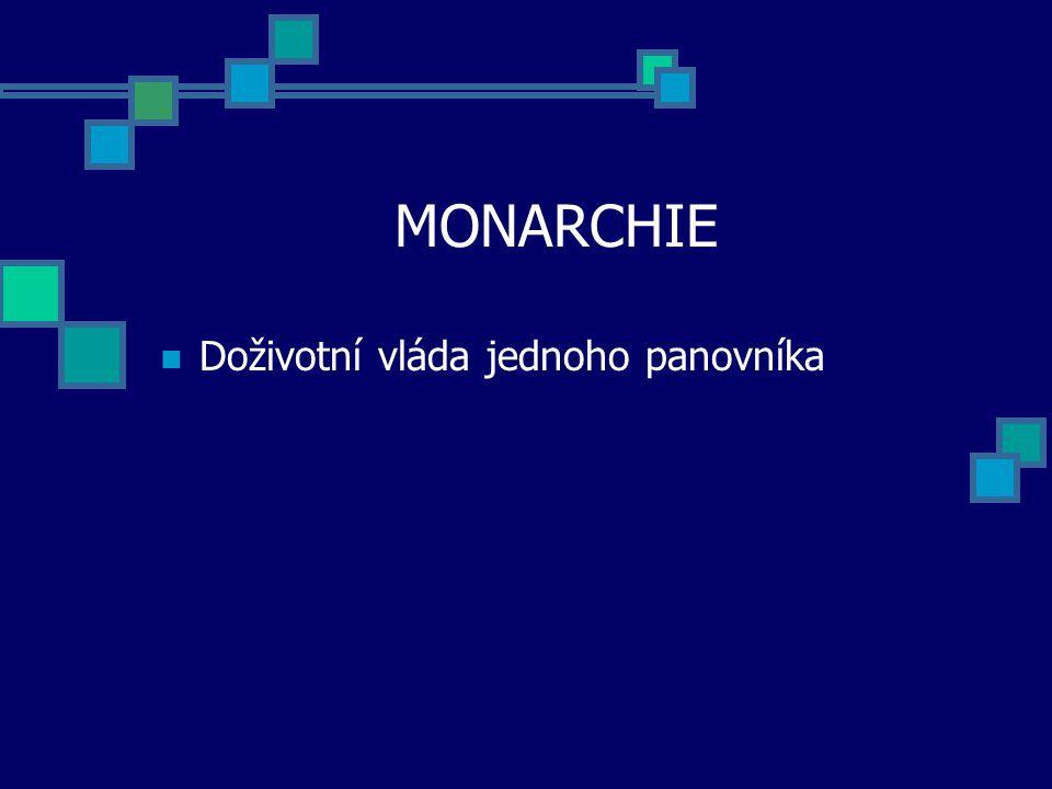 MONARCHIE Doživotní vláda jednoho panovníka