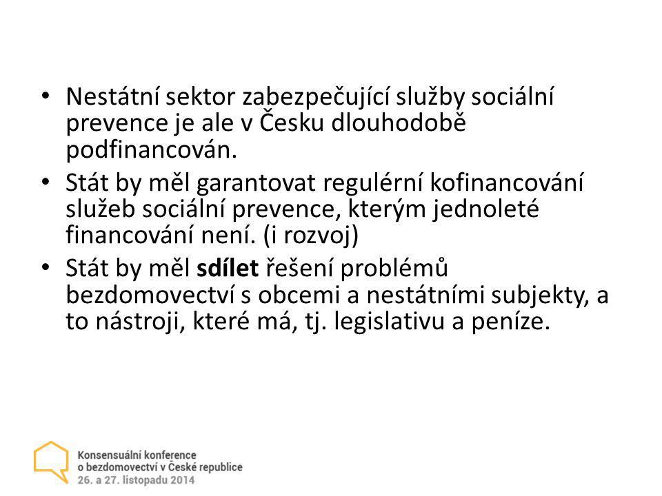 Nestátní sektor zabezpečující služby sociální prevence je ale v Česku dlouhodobě podfinancován. Stát by měl garantovat regulérní kofinancování služeb