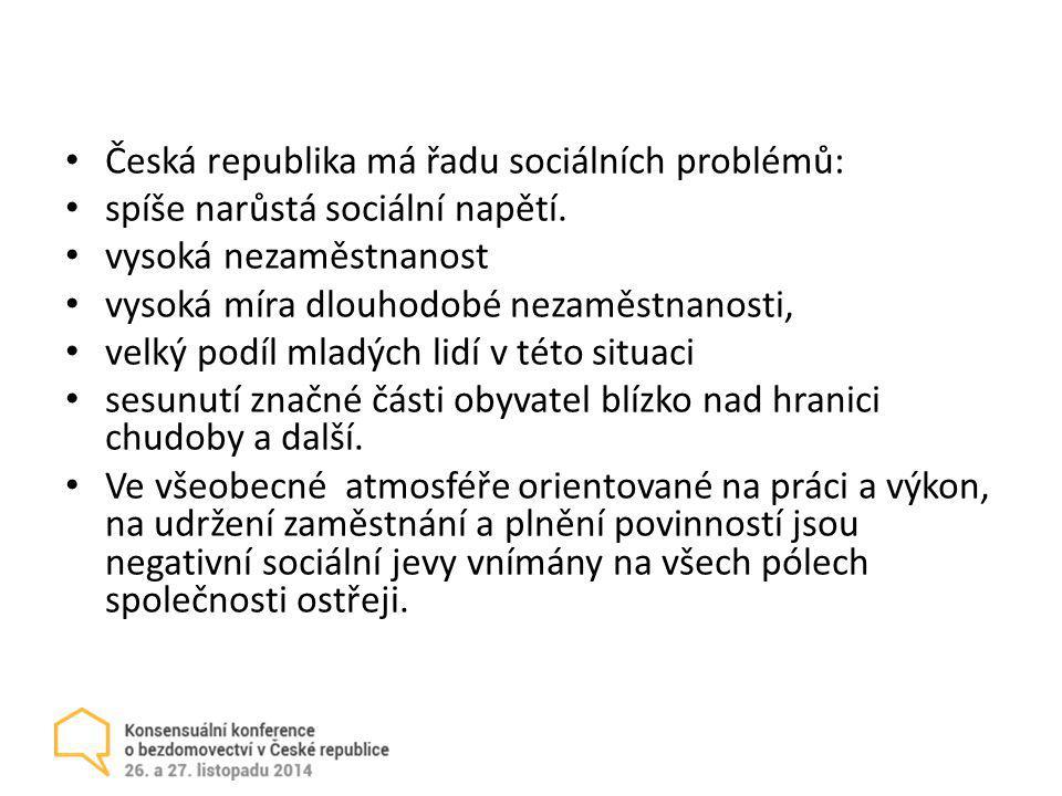Česká republika má řadu sociálních problémů: spíše narůstá sociální napětí. vysoká nezaměstnanost vysoká míra dlouhodobé nezaměstnanosti, velký podíl