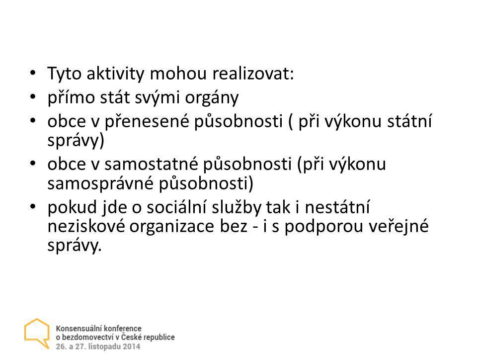 Tyto aktivity mohou realizovat: přímo stát svými orgány obce v přenesené působnosti ( při výkonu státní správy) obce v samostatné působnosti (při výko