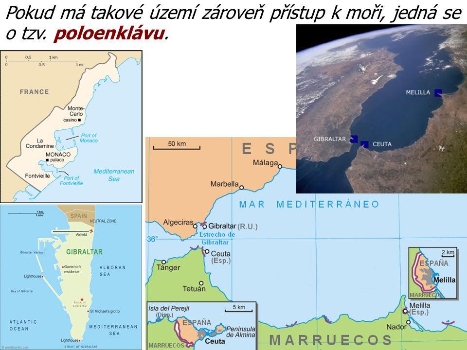 Pokud má takové území zároveň přístup k moři, jedná se o tzv. poloenklávu.