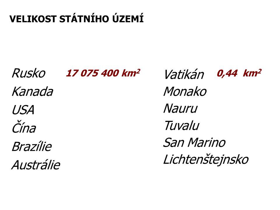 Rusko Kanada USA Čína Brazílie Austrálie Vatikán Monako Nauru Tuvalu San Marino Lichtenštejnsko 17 075 400 km 2 0,44 km 2 VELIKOST STÁTNÍHO ÚZEMÍ