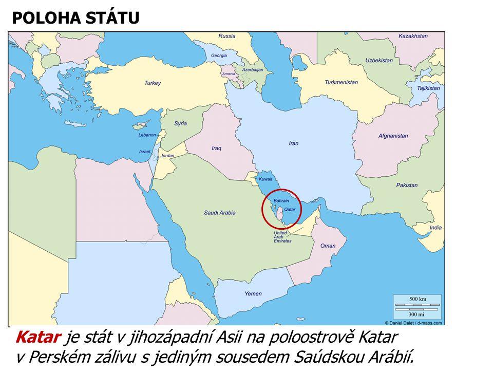 16.12.2013 POLOHA STÁTU Katar je stát v jihozápadní Asii na poloostrově Katar v Perském zálivu s jediným sousedem Saúdskou Arábií.