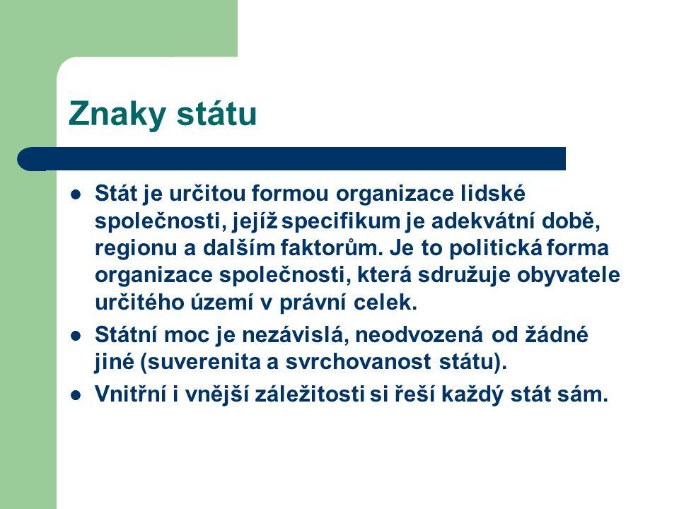 Znaky státu Státní moc se realizuje: jako koncentrace moci u jednoho orgánu (diktatura), dělba moci ve státě mezi různé orgány, osoby, či skupiny osob s vymezenými pravomocemi (demokracie).