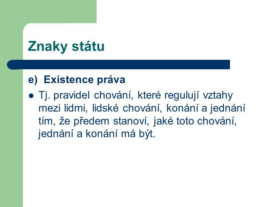 Znaky státu e) Existence práva Tj.