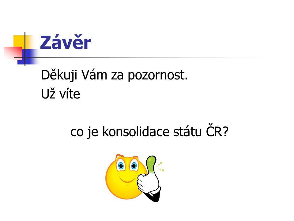 Závěr Děkuji Vám za pozornost. Už víte co je konsolidace státu ČR?