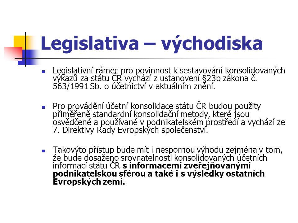 Legislativa – východiska Legislativní rámec pro povinnost k sestavování konsolidovaných výkazů za státu ČR vychází z ustanovení §23b zákona č. 563/199