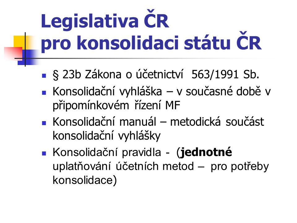 Legislativa ČR pro konsolidaci státu ČR § 23b Zákona o účetnictví 563/1991 Sb. Konsolidační vyhláška – v současné době v připomínkovém řízení MF Konso