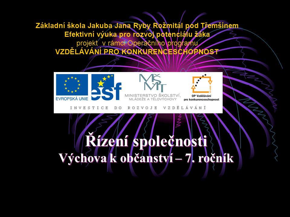Řízení společnosti 7.ročník ZŠ Použitý software: držitel licence - ZŠ J.