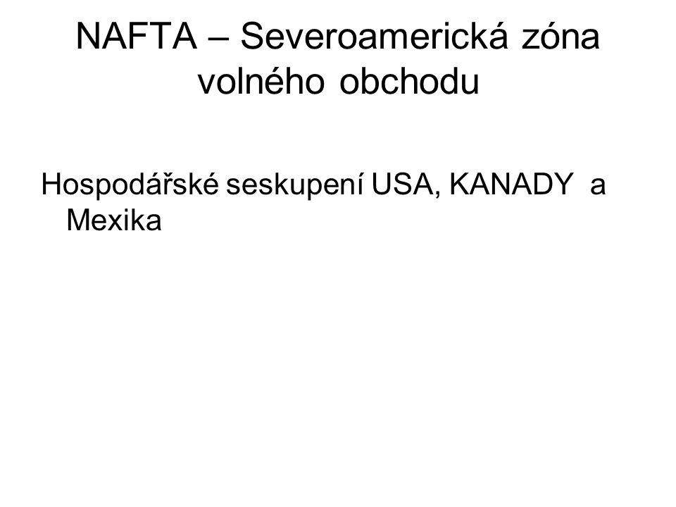 NAFTA – Severoamerická zóna volného obchodu Hospodářské seskupení USA, KANADY a Mexika