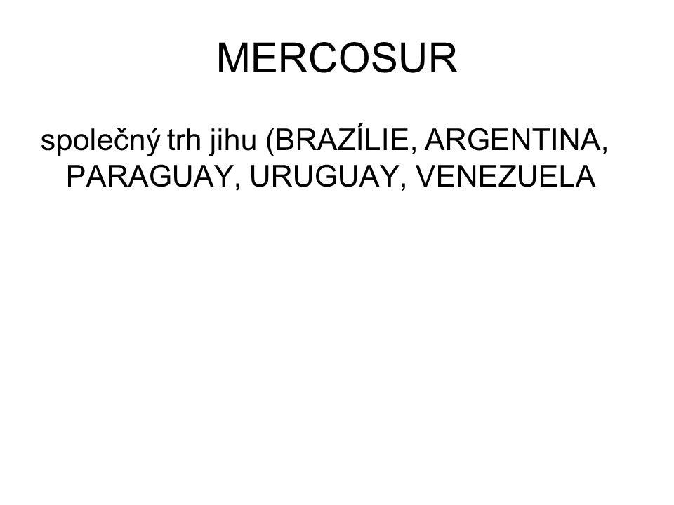MERCOSUR společný trh jihu (BRAZÍLIE, ARGENTINA, PARAGUAY, URUGUAY, VENEZUELA