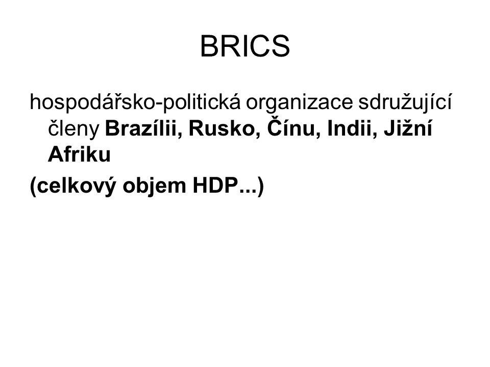 BRICS hospodářsko-politická organizace sdružující členy Brazílii, Rusko, Čínu, Indii, Jižní Afriku (celkový objem HDP...)