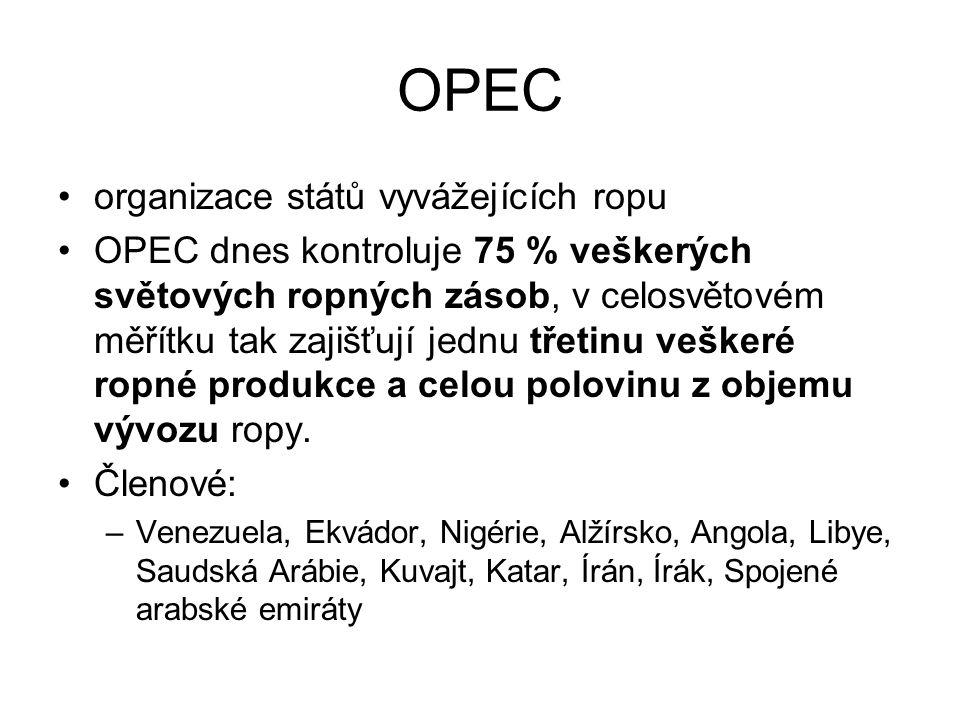 OPEC organizace států vyvážejících ropu OPEC dnes kontroluje 75 % veškerých světových ropných zásob, v celosvětovém měřítku tak zajišťují jednu třetin