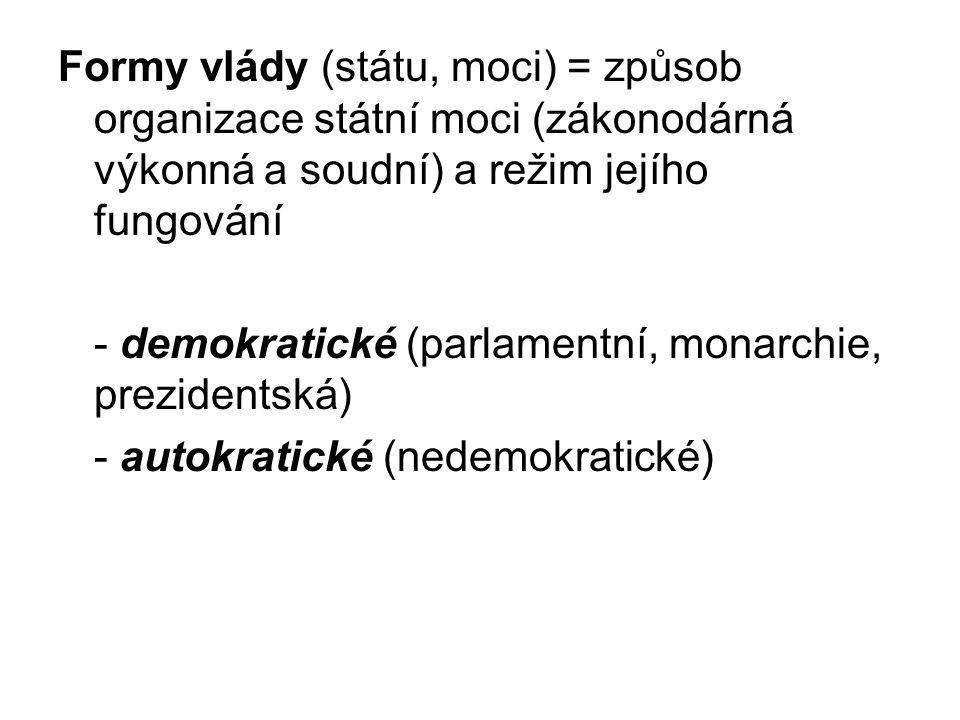 Formy vlády (státu, moci) = způsob organizace státní moci (zákonodárná výkonná a soudní) a režim jejího fungování - demokratické (parlamentní, monarch