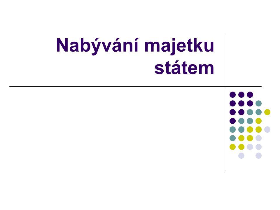 Nabývání na základě zákona stát nabývá majetek na základě skutečnosti stanovené zákonem občanský zákoník (současný) vydržení (§ 134) zpracování cizí movité věci na věc novou (§ 135b) odúmrť (§ 462)