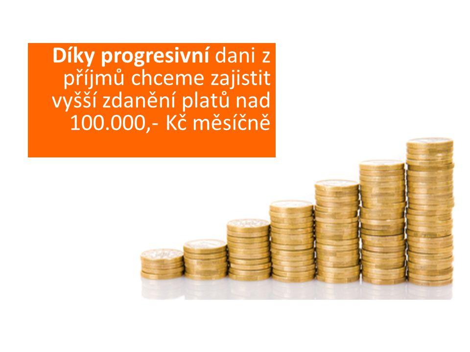 Díky progresivní dani z příjmů chceme zajistit vyšší zdanění platů nad 100.000,- Kč měsíčně