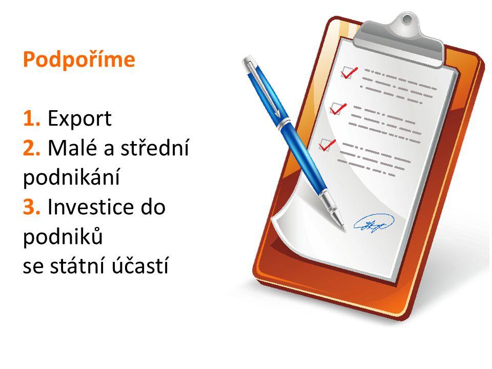 Podpoříme 1. Export 2. Malé a střední podnikání 3. Investice do podniků se státní účastí