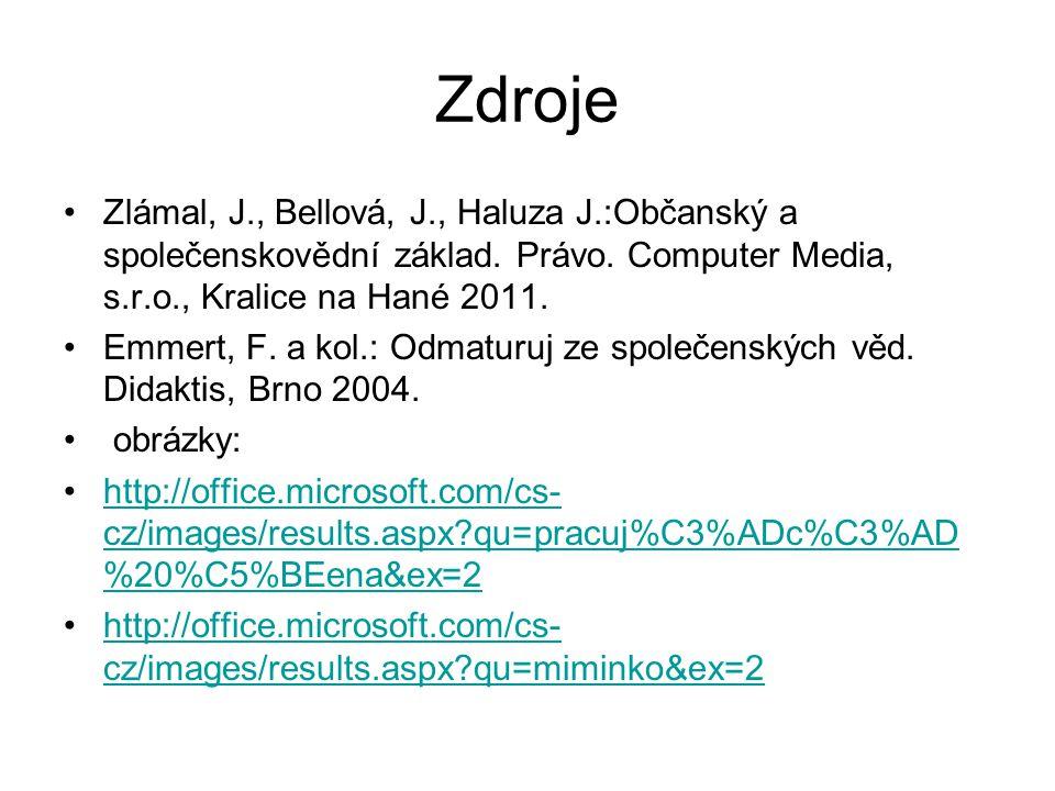 Zdroje Zlámal, J., Bellová, J., Haluza J.:Občanský a společenskovědní základ.
